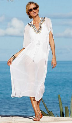 2ea025c739 LOVE this long white bathing suit cover up! embellished neck - Raviya at  Macy's