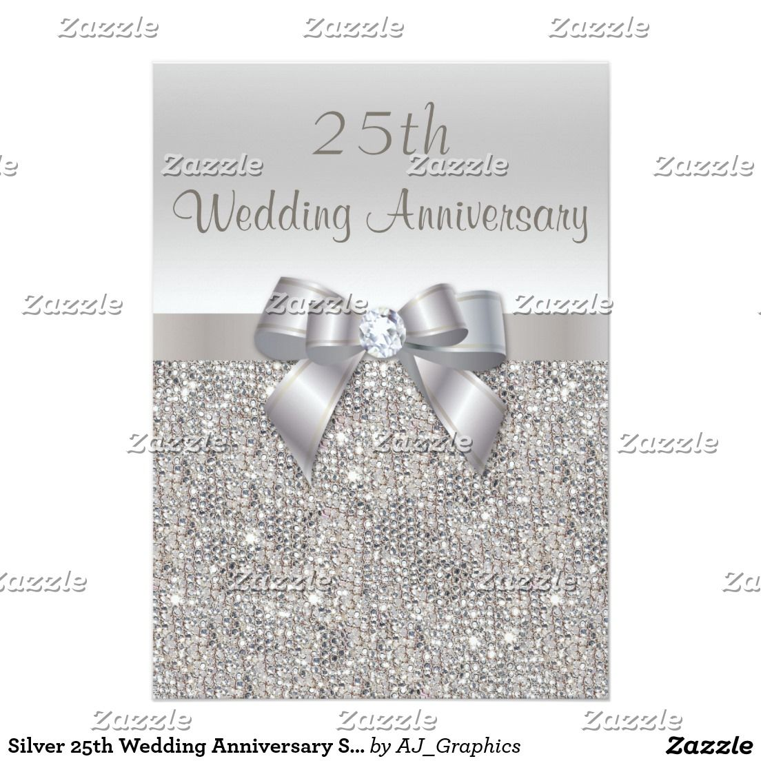 Silver 25th Wedding Anniversary Sequins and Bow Card Silver 25th ...