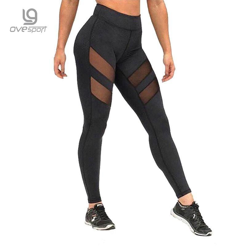 OVESPORT Workout Womens Leggings Mesh High Waisted Fitness Yoga Sports Leggings Pants