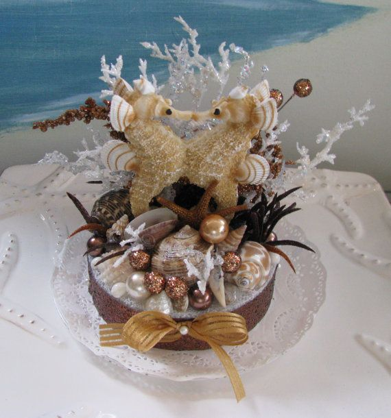 Seahorse Seashell Wedding Cake Topper Coral Starfish