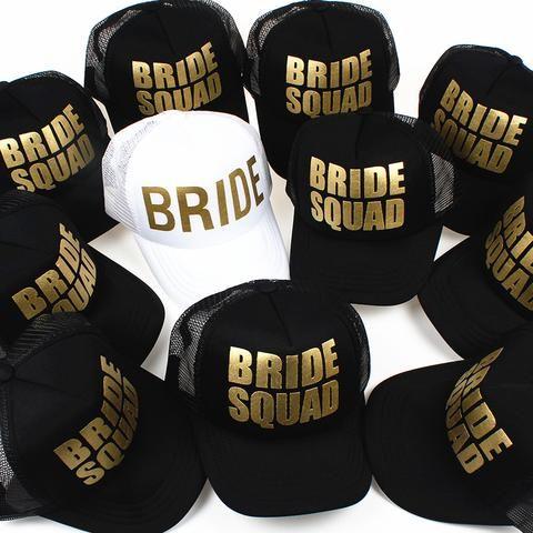 d3dec3acfa9 BRIDE Wedding Baseball Cap Gold Print Mesh Hat Women Party Brand Bachelor  Club Team BRIDE SQUAD