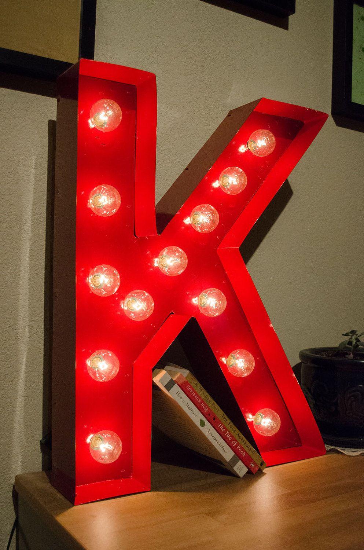 Vintage Inspired Marquee Light Letter K Via Etsy Marquee Lights Marquee Letters Lettering