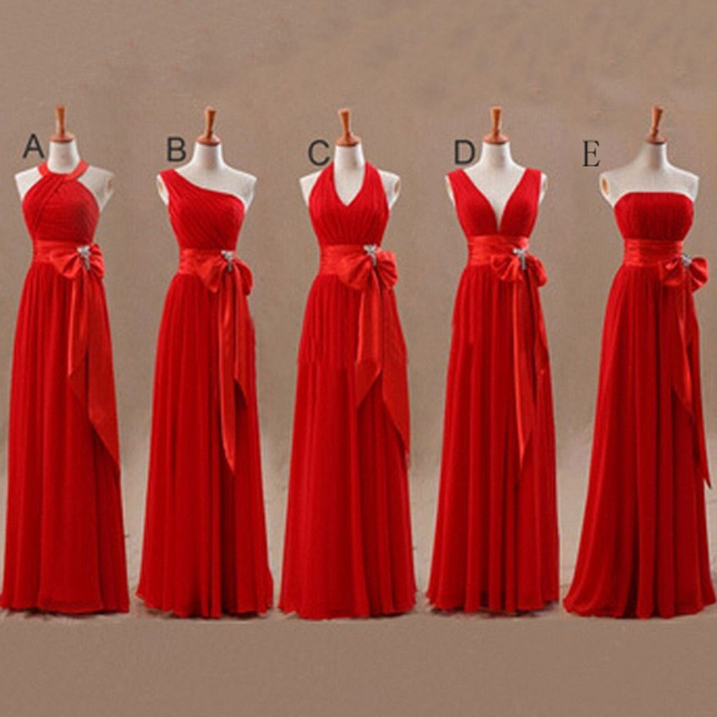 Mismatched junior chiffon red long a line formal cheap maxi