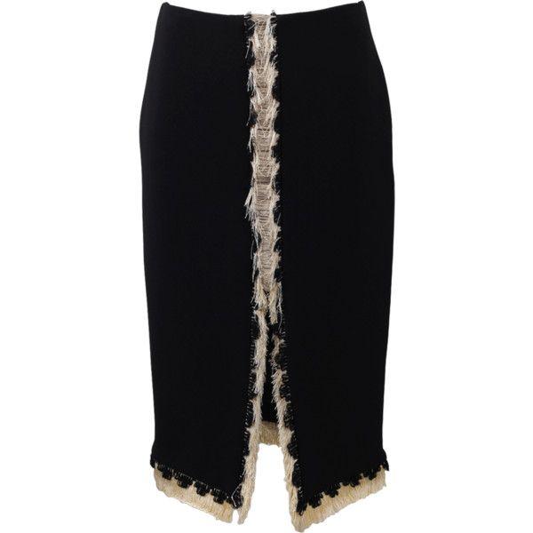Lanvin Front Slit Pencil Skirt ($1,690) ❤ liked on Polyvore featuring skirts, fringe skirt, lanvin skirt, black fringe skirt, black pencil skirt и lanvin
