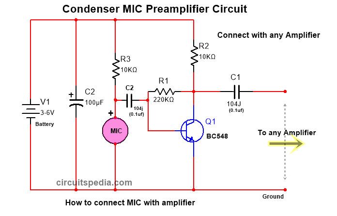 How To Connect Mic With Amplifier Circuit Diagram Amplifier Circuit