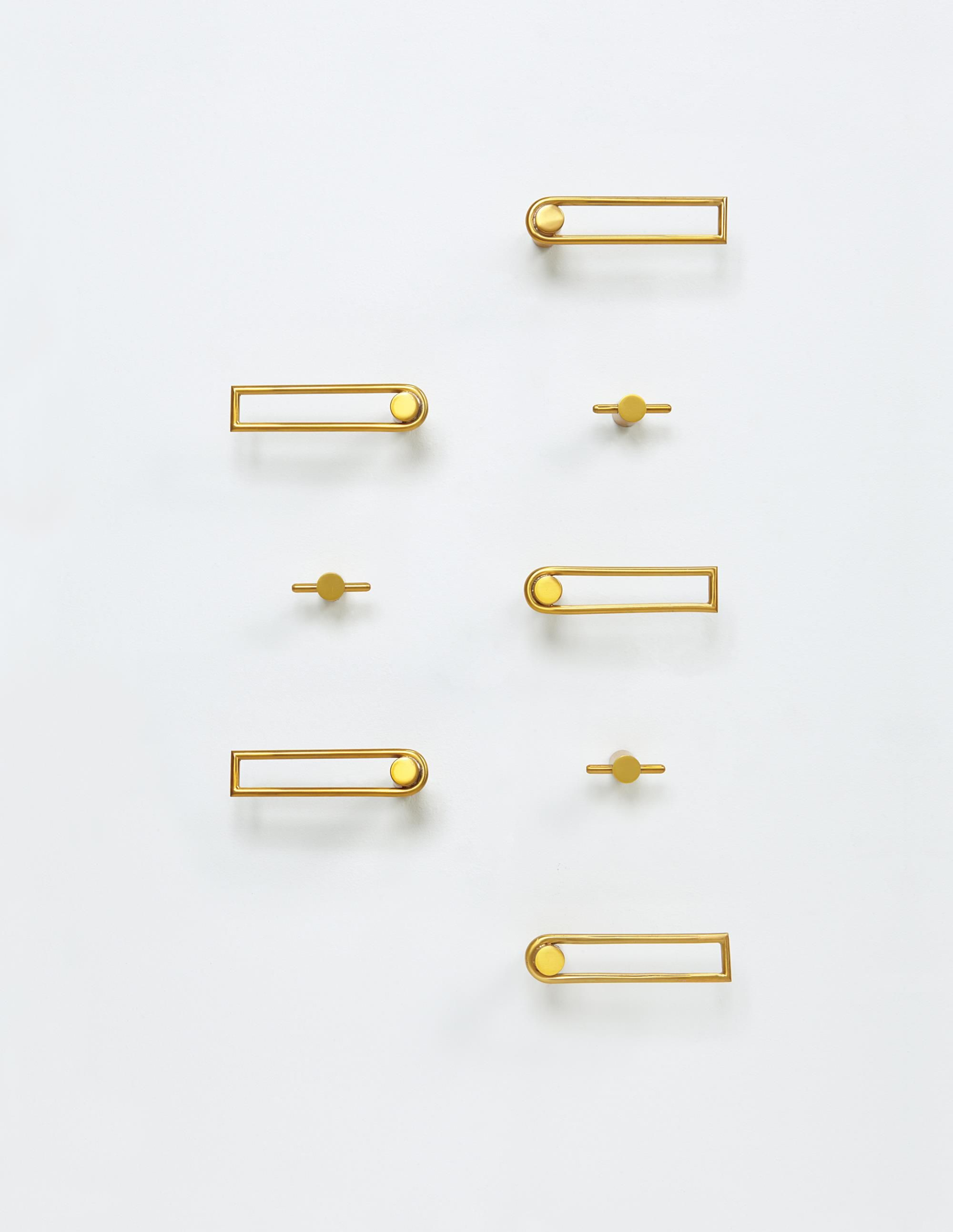 JEAN ROYÈRE Set Of Door Hardware, 1950s Lacquered Steel. 4 3/4 In. (12.1  Cm) Wide Comprising 9 Lever Handles, 3 Turn Pieces, 14 Rosettes