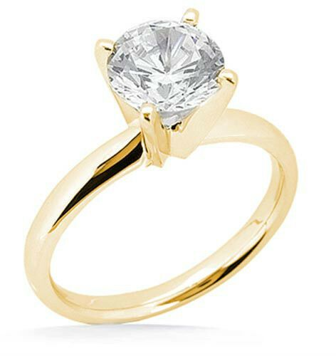 0.69 ct Round Diamond J VS1 Engagement Solitaire 14K Yellow Gold Wedding Ring