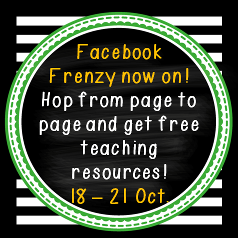Hop from page to page to collect incredible teaching resources that are free until the 21st of October.  Go to the FB page, click on the FB Frenzy tab.  Enjoy!!!