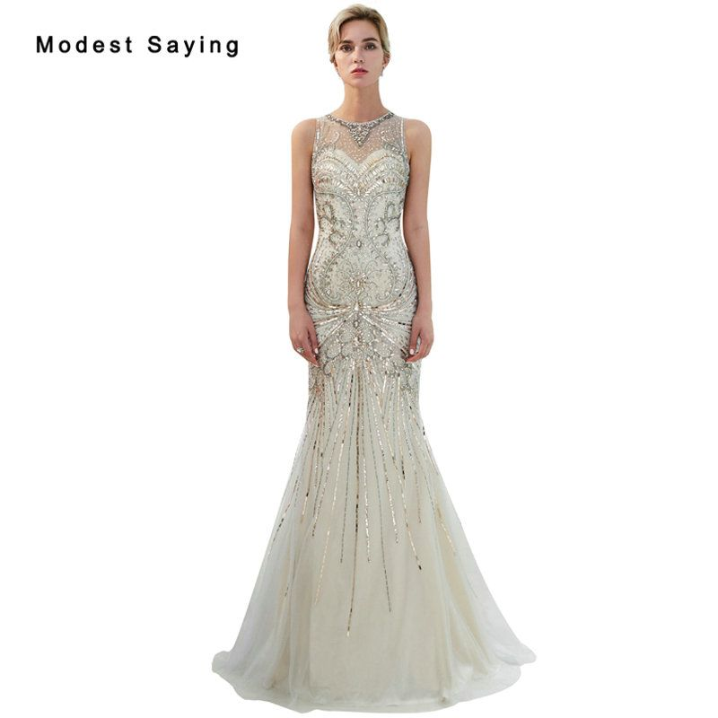 Find More Evening Dresses Information about Luxury Silver Mermaid Evening  Dresses 2019 with Crystal Beaded Party ef603380f8e1