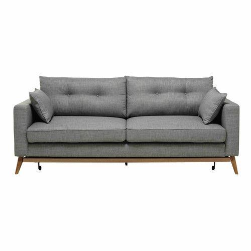 Sofa Convertible De 3 Plazas De Tela Gris Claro Sillones Modernos Tela Gris