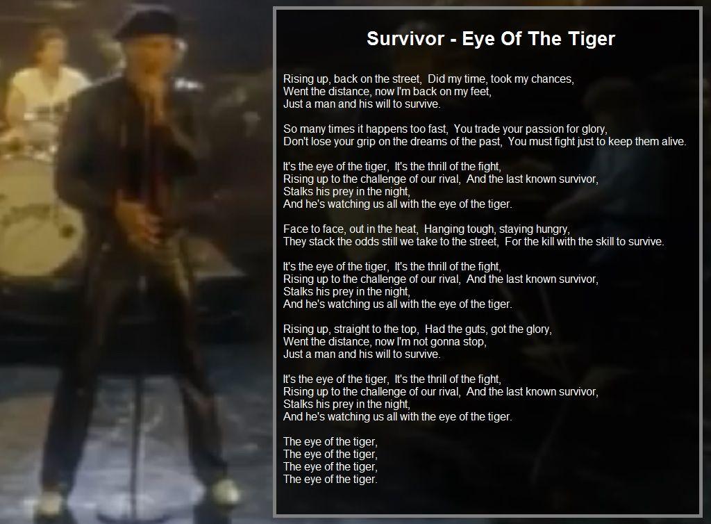 Survivor Eye Of The Tiger Lyrics Cliip Net Lyrics Survivor Music Lyrics
