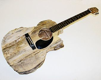 SALE- Guitar Driftwood Sculpture Life Size, Each OOAK MJ Original is Hand Pieced and Carved, Musicians Gift, Custom Made to Order