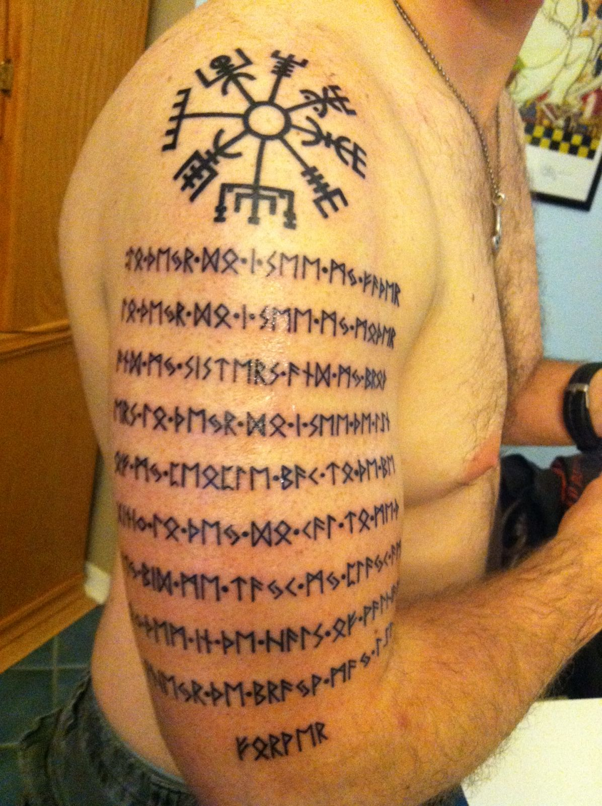 Runic Prayer And Compass With My Dads Ashes Mixed Into The Ink