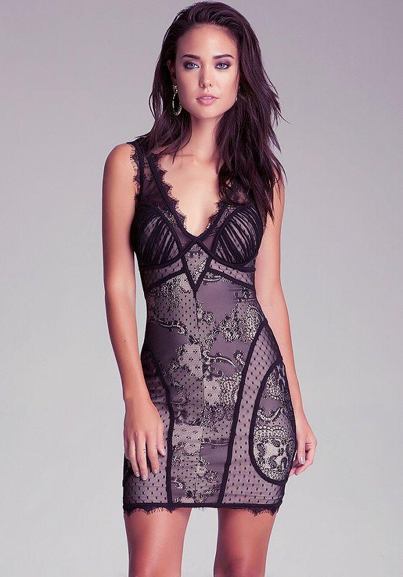 bebe | V Neck Lace Dress - Clothing - View All | Fashion | Pinterest ...