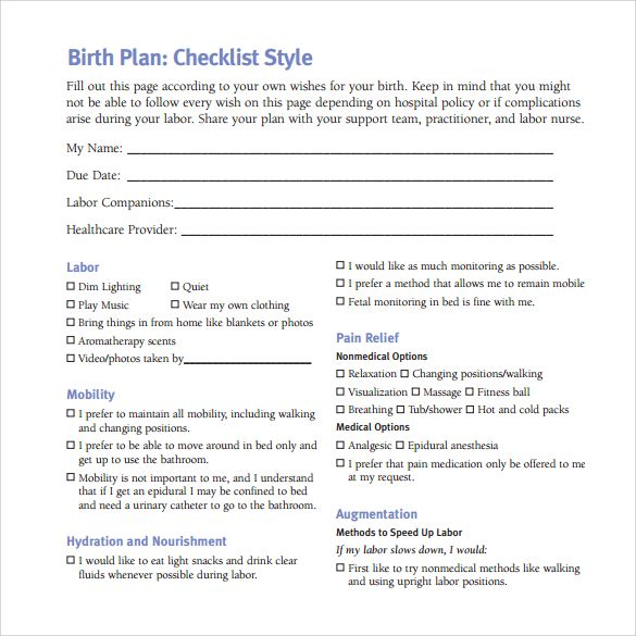 birth plan checklist template pdf