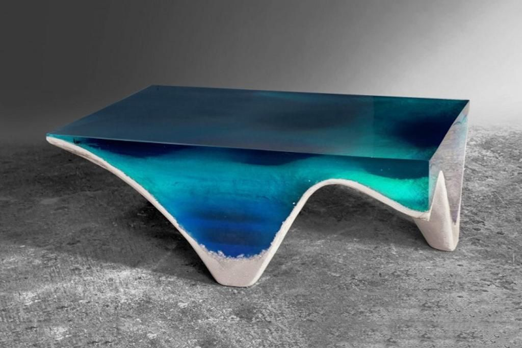 This Cleverly Designed Table Mimics a Cross Section of the Ocean Floor.