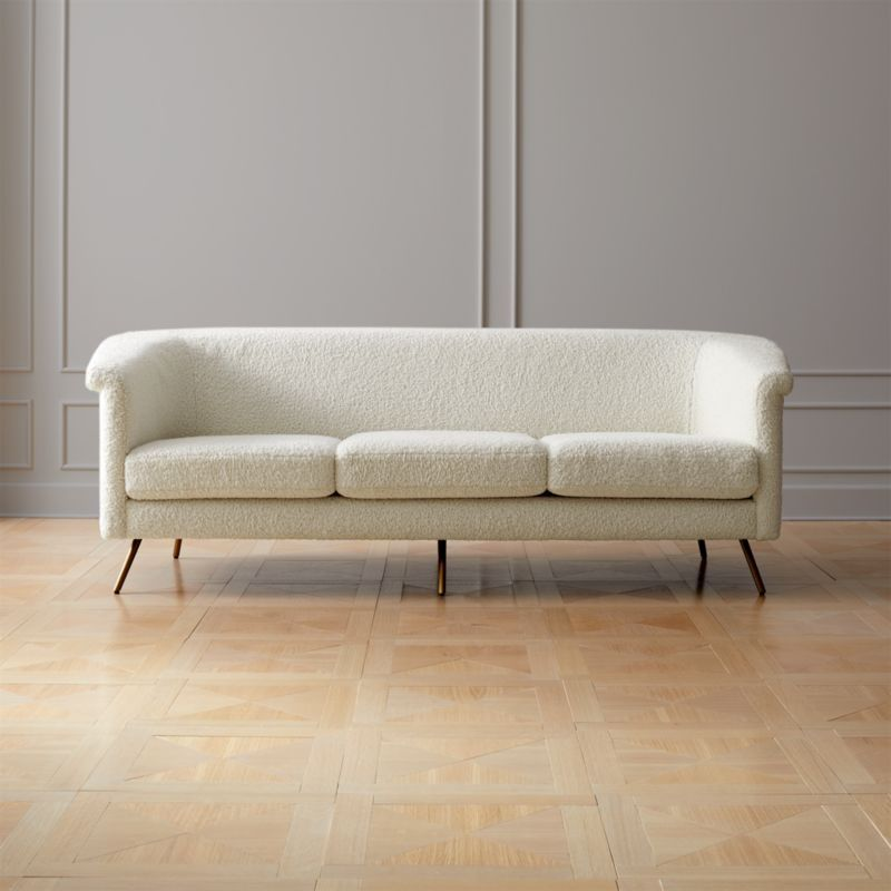 Vicente Faux Shearling Sofa Reviews Cb2 Furniture Leather
