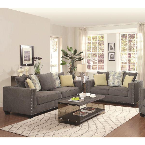 Calvin Button 2-piece Living Room Set Gray Living Room Ideas Decor