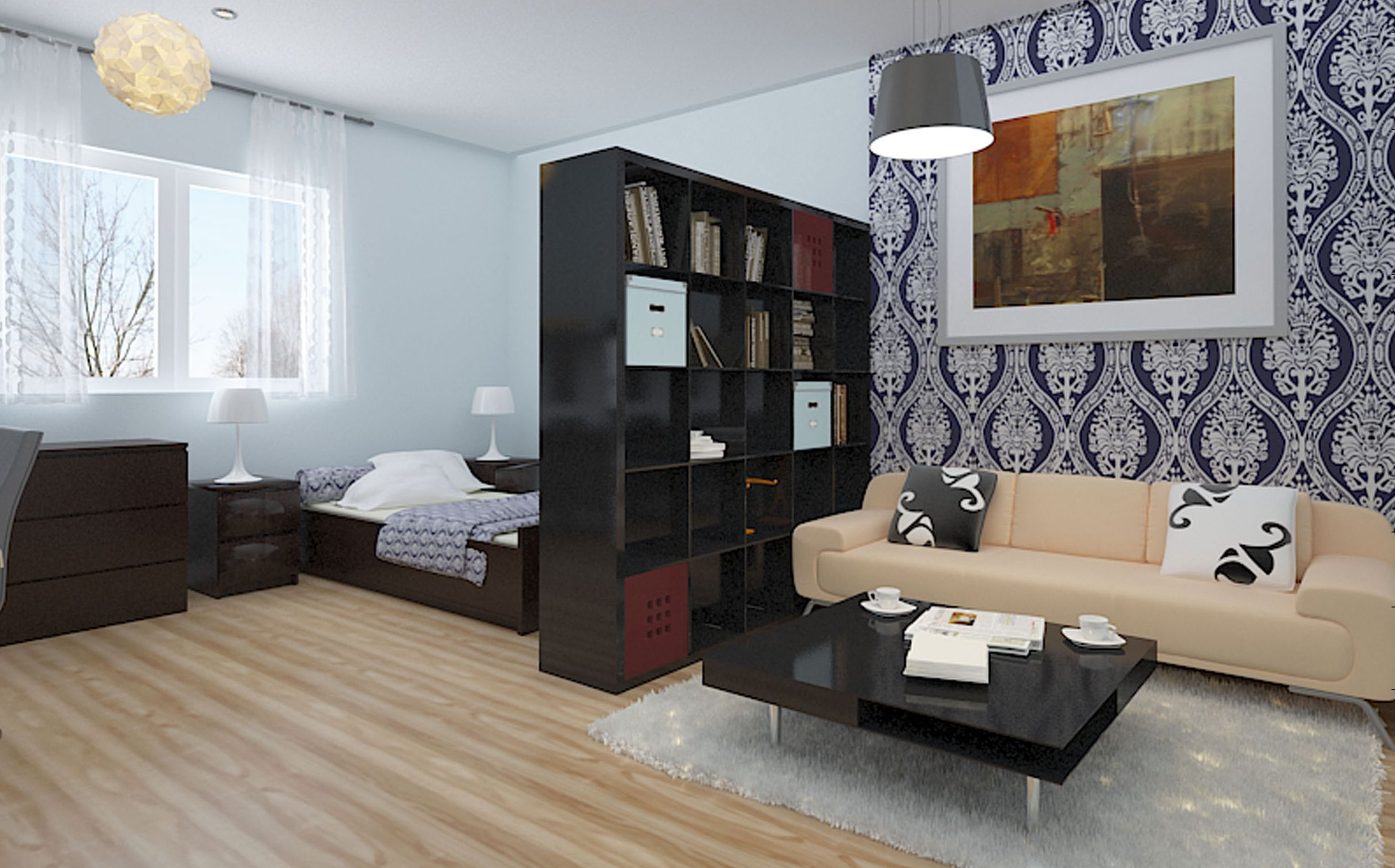 Creative Studio Apartment Design Ideas With Dark Wallpaper And Wooden Flooring Apartment Bedroom Decor Studio Apartment Decorating Apartment Interior