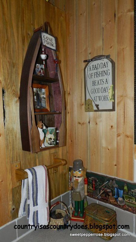 Fishing Decor Brown Bathroom, Fishing Themed Bathroom Decor