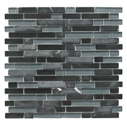 b q linear glass stone mosaic tile l 300mm w 308mm. Black Bedroom Furniture Sets. Home Design Ideas