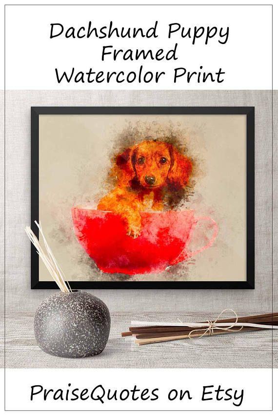 Dashchund Watercolor Framed Print Dog Painting Watercolor ...