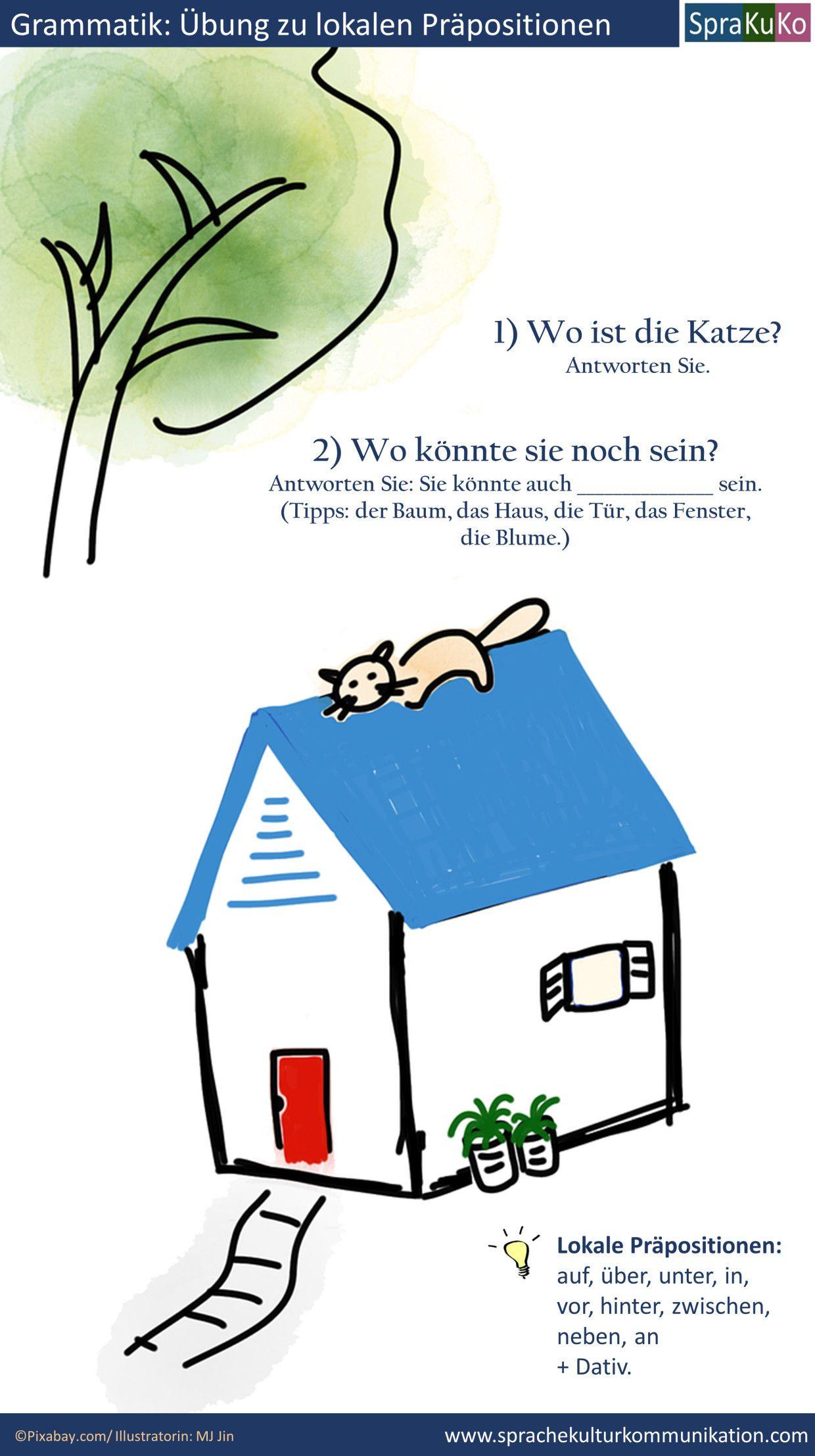 Übung lokale Präpositionen Katze Dach_Haus.jpg | Schule | Pinterest ...