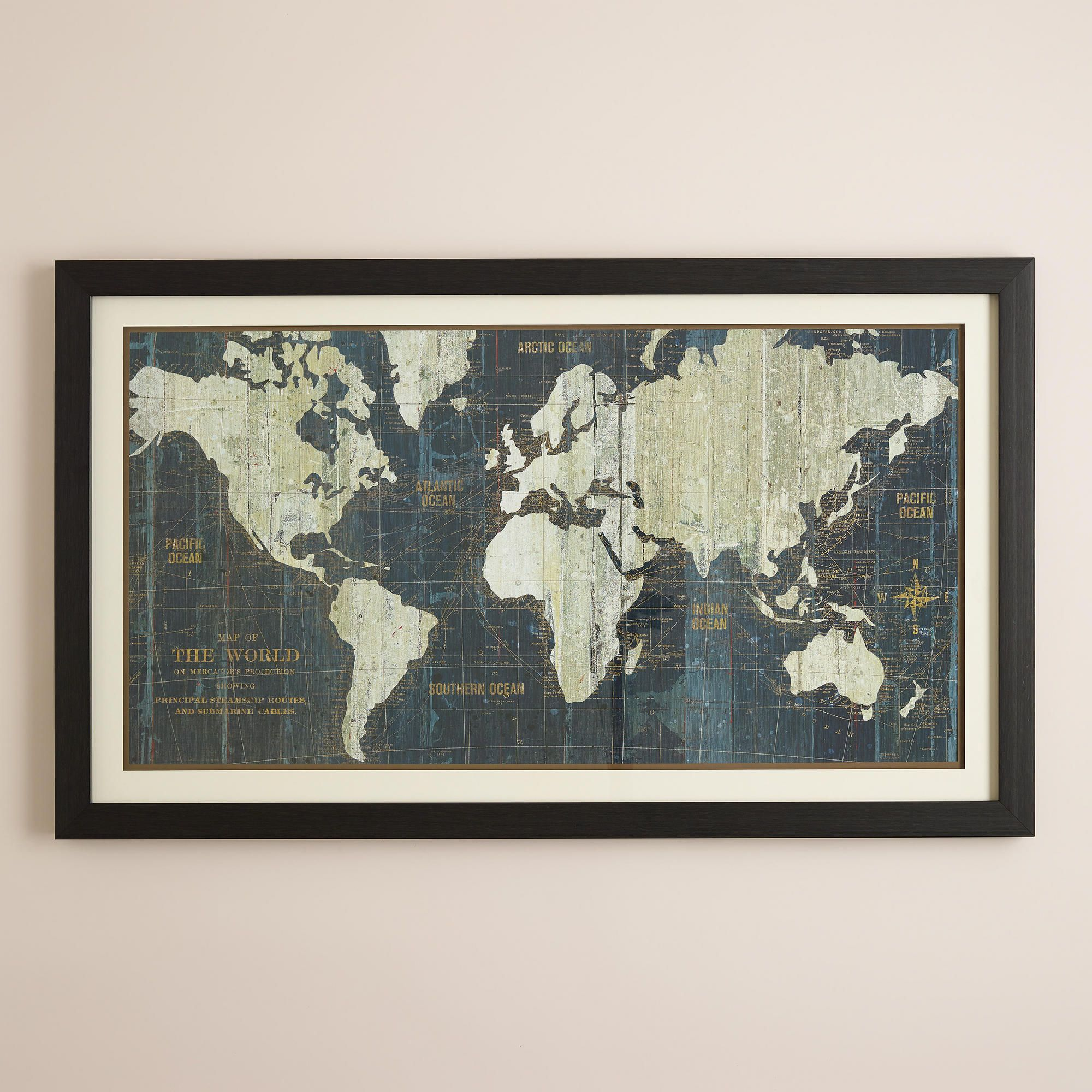 Blue old world map world market our blue old world map is a wall art option for livingroom our blue old world map is a reproduction of a late century map discovered in lyon france gumiabroncs Gallery
