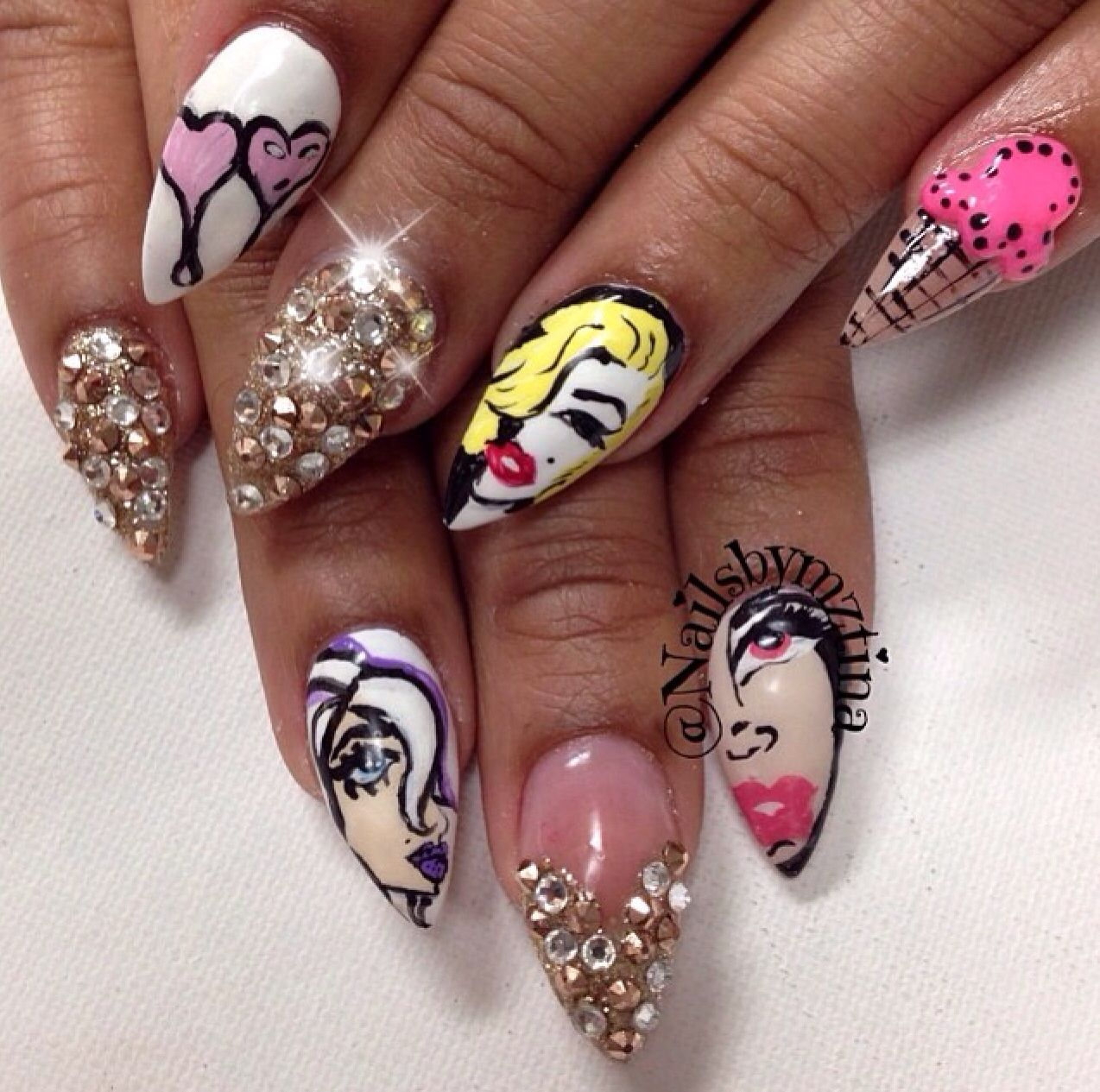 These designs are sick, I hate the stiletto shape but these nails ...