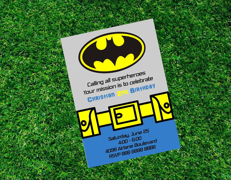 Batman Invitation - Birthday Party Printable Invitation. $12.00 ...