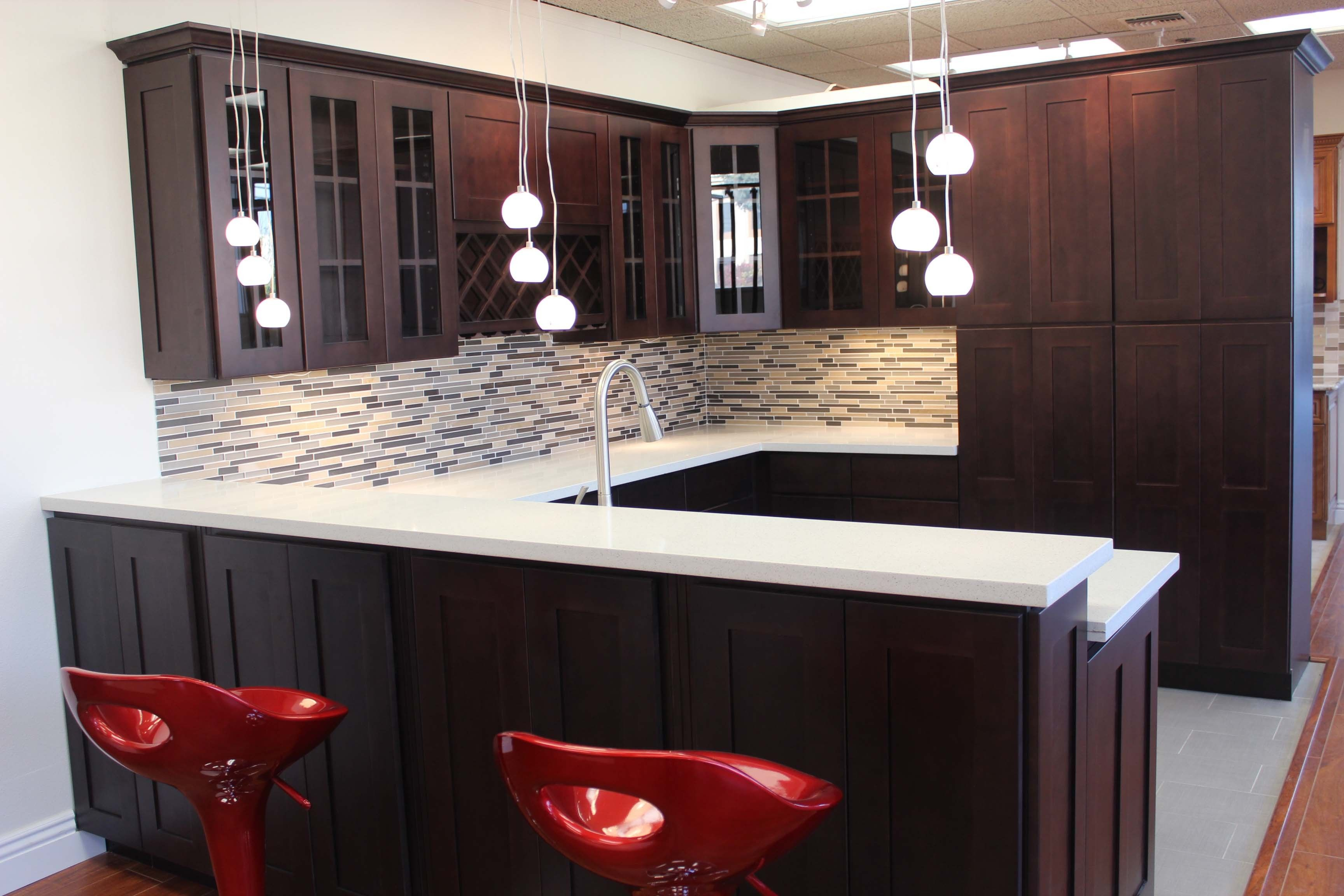 Chic White Small Glass Hanging Kitchen Lights Over Quartz Countertop Bar Island As Well Espresso CabinetsColored