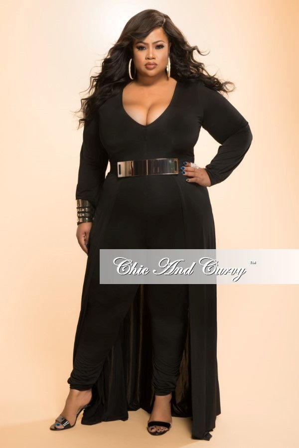 b2cee1bb991 New Plus Size Jumpsuit with Attached Long Skirt in Black – Chic And Curvy