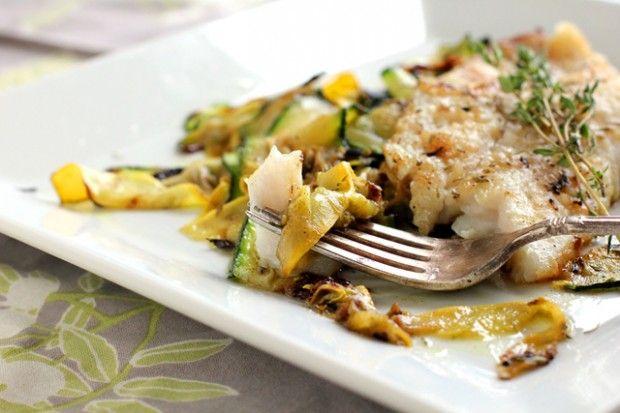 Tilapia with Crispy Zucchini Ribbons