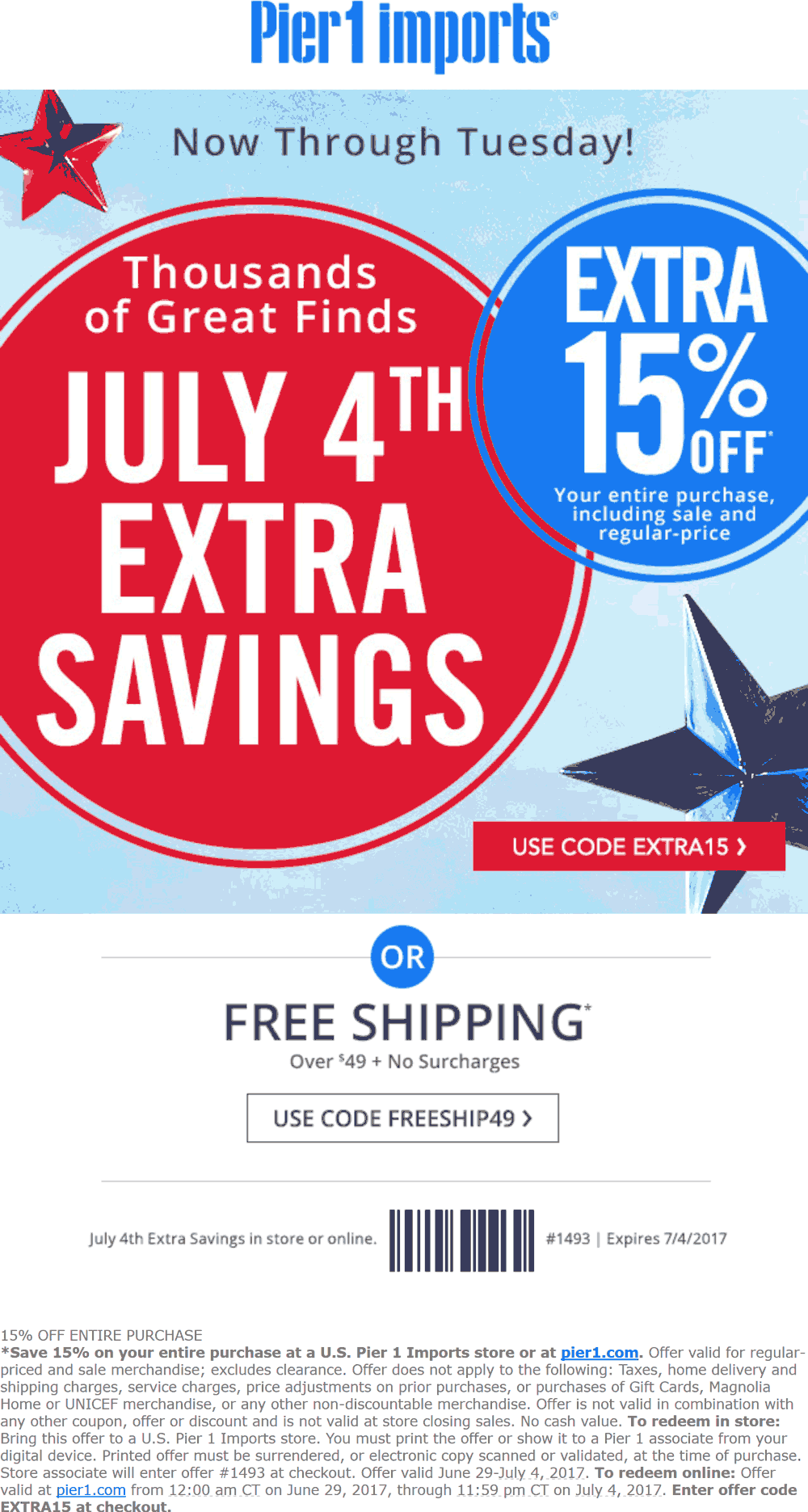 Pinned July 1st 15 Off At Pier1 Imports Or Online Via Promo Code Extra15 Thecouponsapp Shopping Coupons Coupon Apps Coding