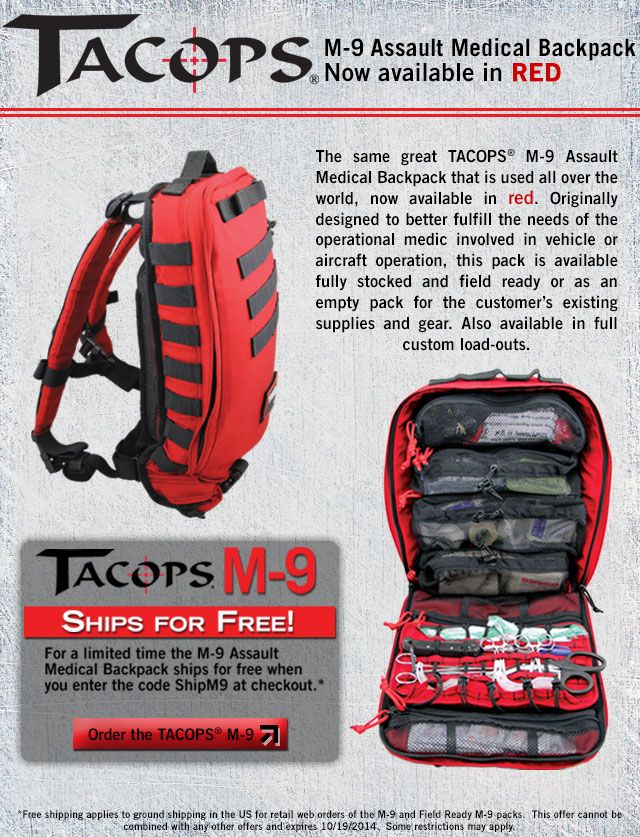 8e5d2244399 Our famous TACOPS® M-9 Assault Medical Backpack is now available in red with