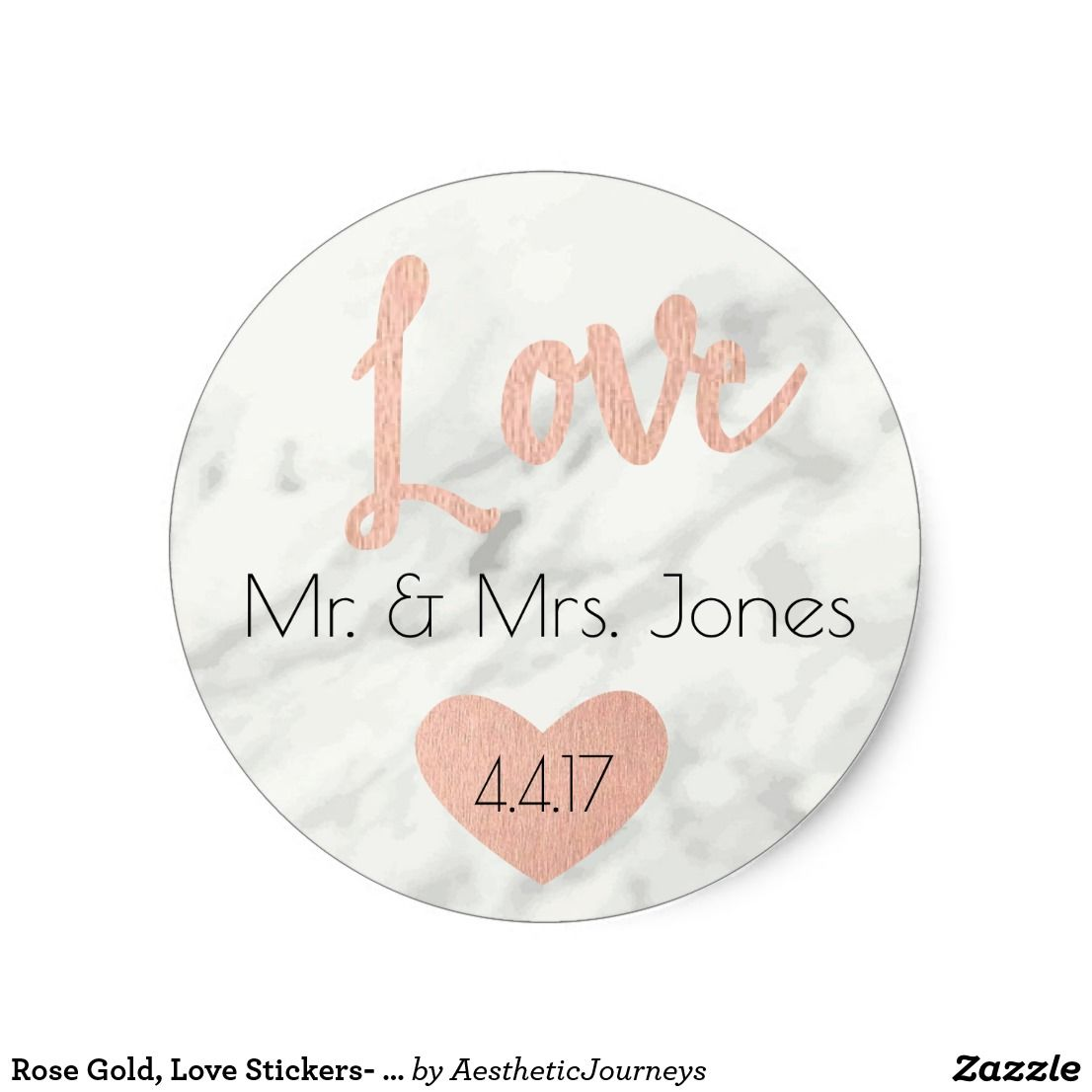 Rose Gold, Love Stickers- Wedding Favors Classic Round Sticker These ...