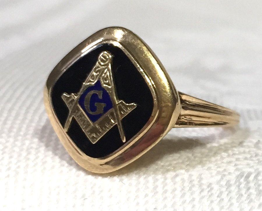 Vintage Masonic Ring, 14K Yellow Gold Freemason Ring, Gold