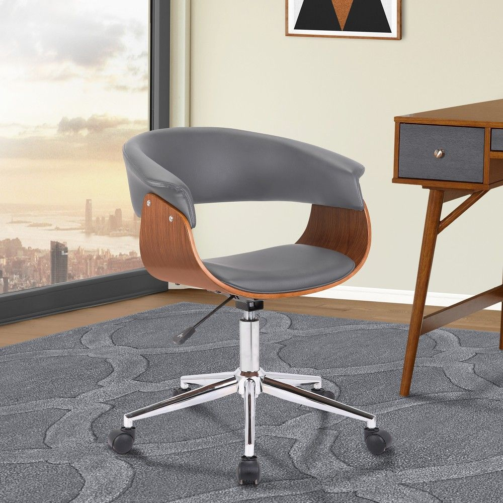 Bellevue Mid Century Office Chair In Chrome Finish W Grey Faux Leather Walnut Veneer Armen Living Lcbvofchwagr In 2020 Chair Ergonomic Chair Small Office Chair