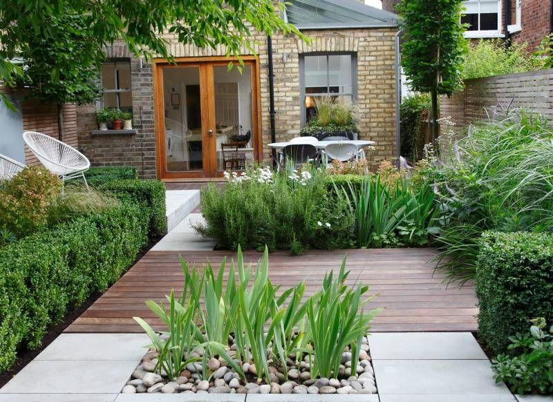 Modern Architectural Garden with Mixed Patio Decking garden
