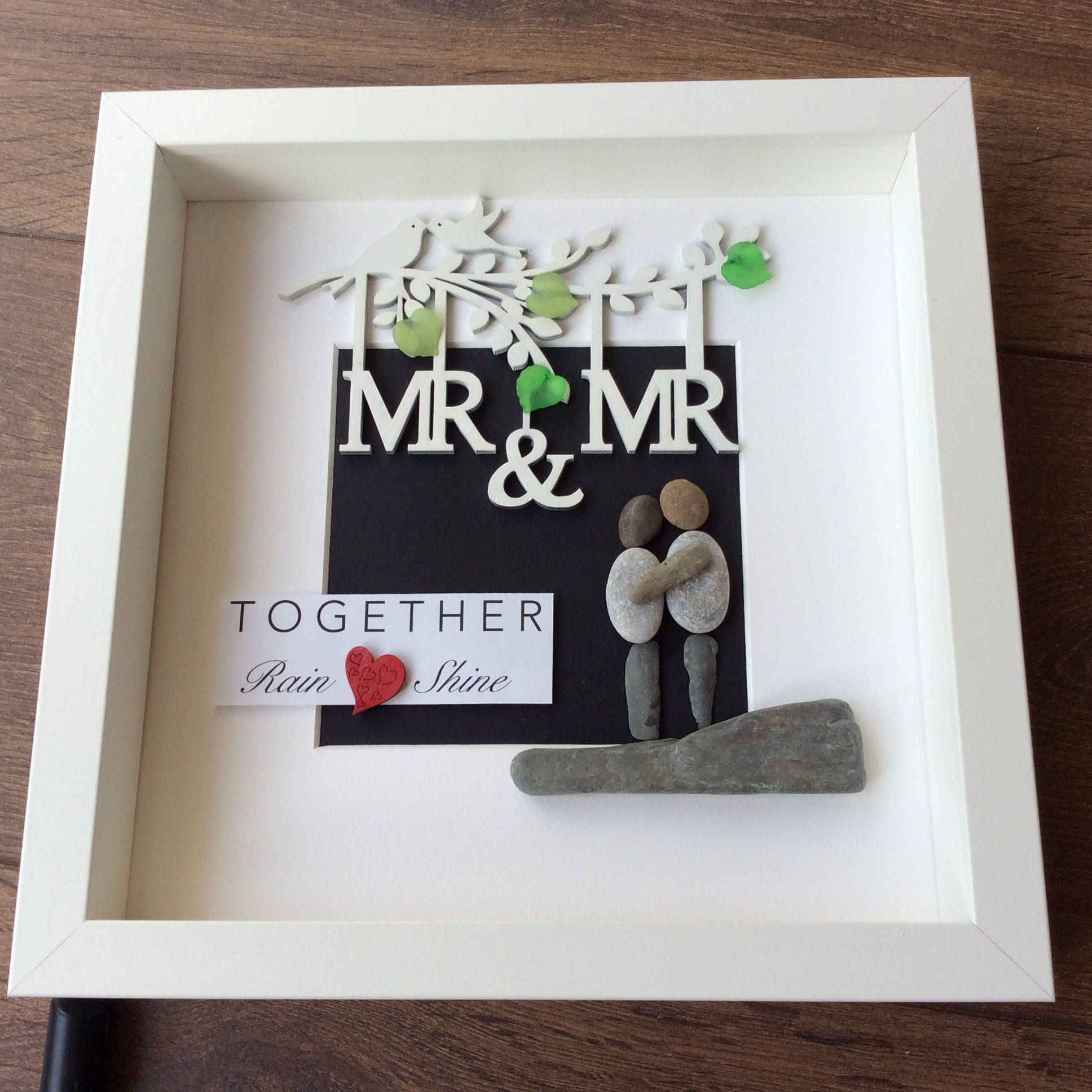 Pebble Art Wedding, gift for him, gift for couple, wall art, wall ...