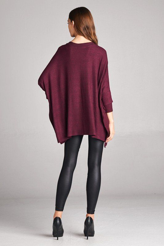 Boxy, V-Neck, Layered Long Sleeve Poncho Top, Top:Casual, cherish, RK Collections Boutique