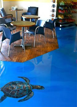 Turtle Epoxy Flooring California Has An Ocean Blue