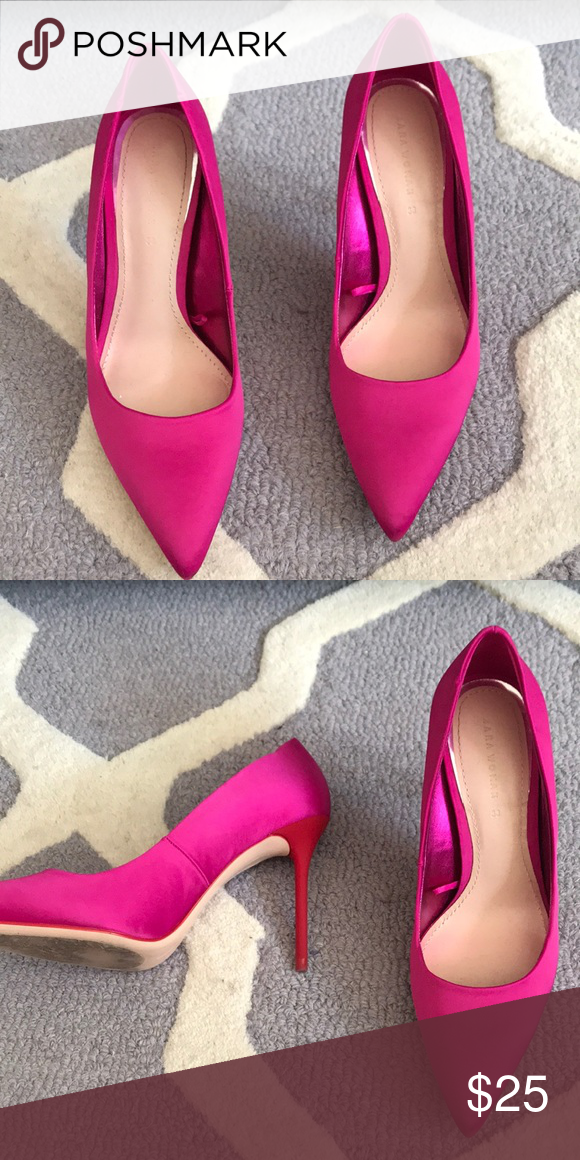 230fa872cbf3 Zara Hot Pink heel Red heel. Hot pink satin pump. Impeccable condition.  Wore once on my birthday. Zara Shoes Heels