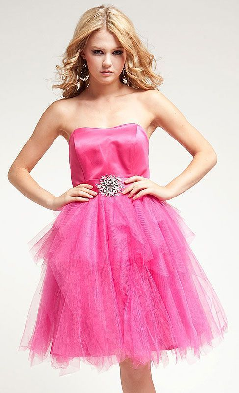 Princess Cut Strapless Satin dress with Shiny mesh Item# A313 ...