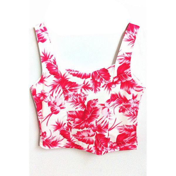 LUCLUC Red Floral Print Strap Crop Top (44 BRL) ❤ liked on Polyvore featuring tops, red top, cut-out crop tops, red crop top and crop top