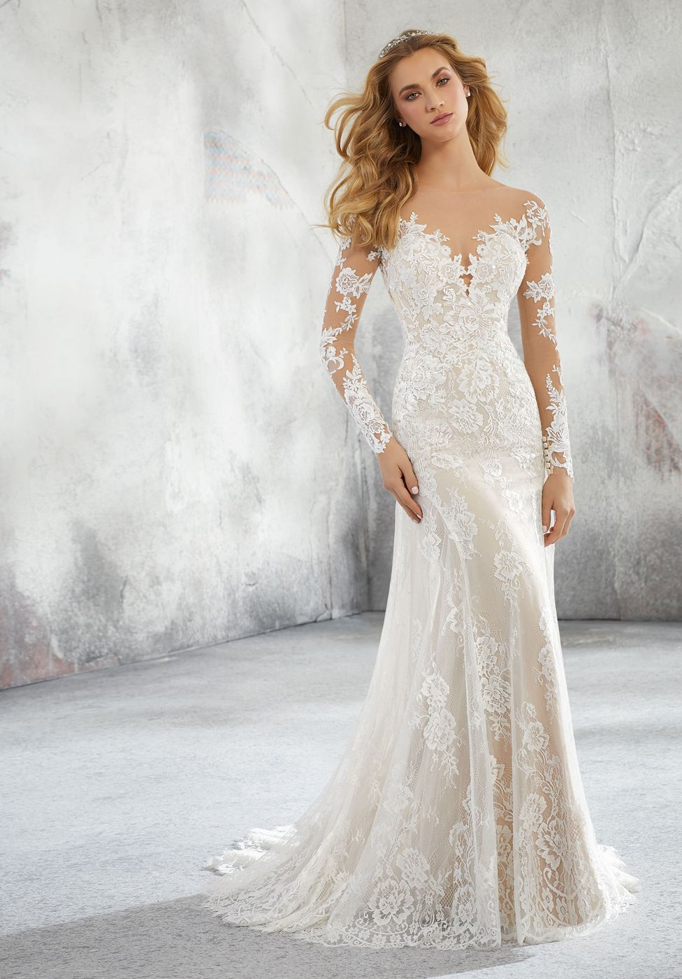 Mori Lee 8276 Lorraine Long Sleeves Bridal Dress Fit And Flare Wedding Dress A Line Wedding Dress Wedding Dress Styles [ 1400 x 976 Pixel ]