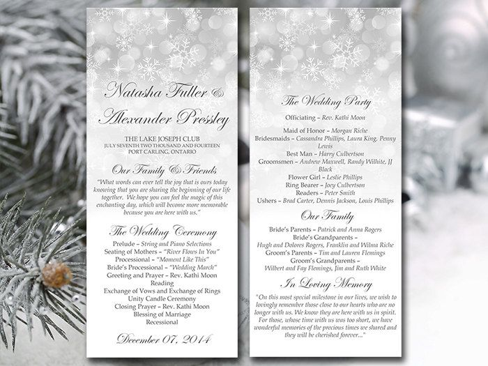 Winter Wedding Program Template Snowflake By Paintthedaydesigns