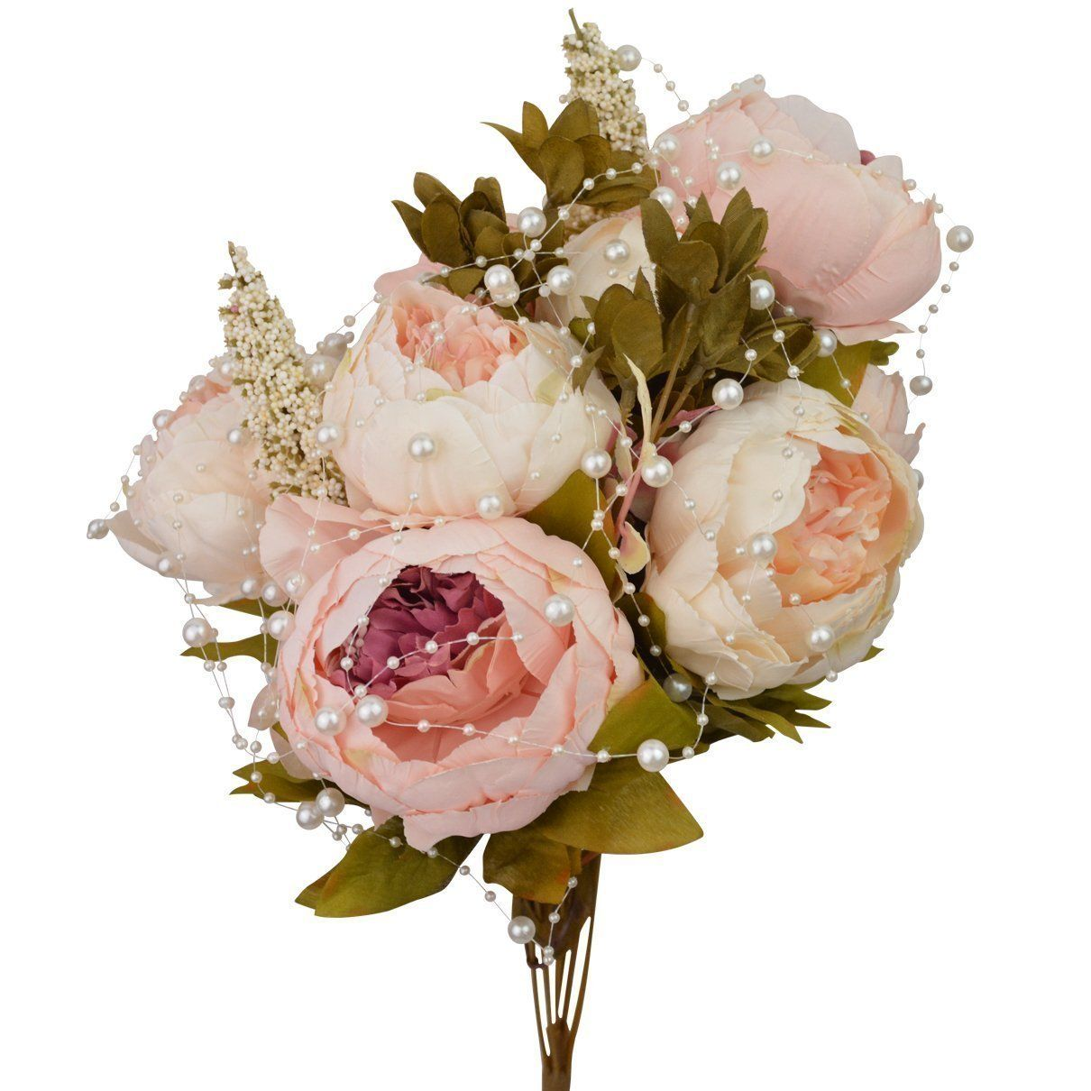 Craft Fake Flowers Floral Decor Glorious Moral for Home Dining-Table Hotel DIY Party Marriage Wedding Christmas Decoration Hmxpls Vintage Artificial Peony Silk Flowers Bouquet Light Pink