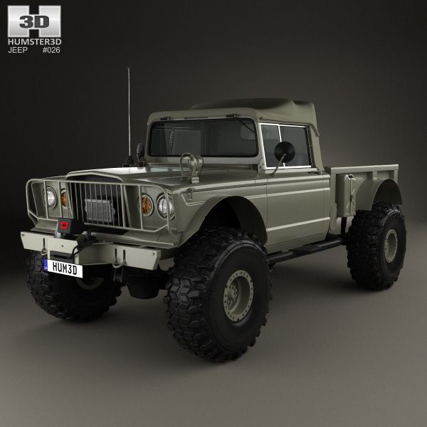 Small Ford Truck: Jeep Kaiser M715 Olive Drab Ogre 1967 3d Model From Hum3d