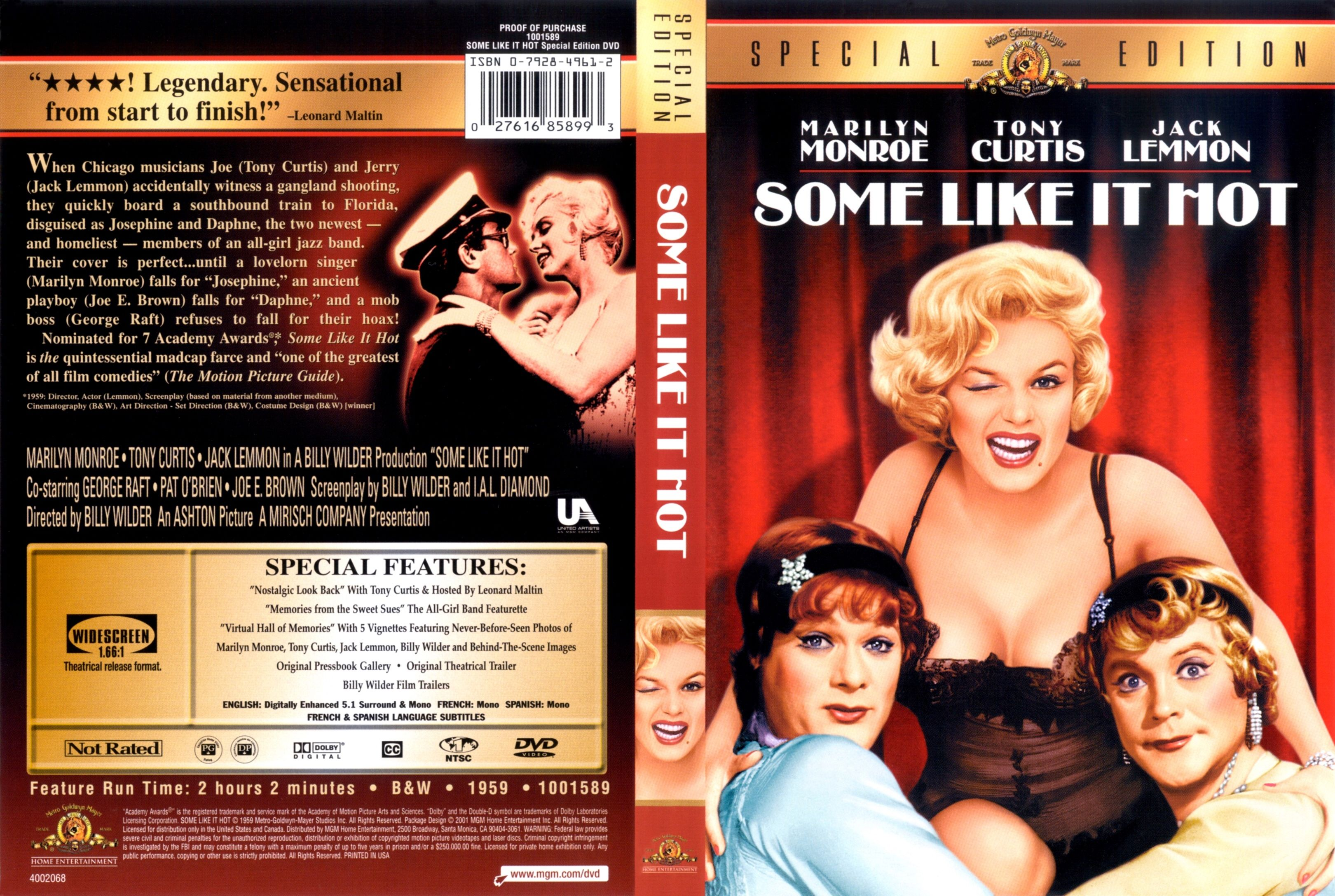 Some Like It Hot Dvd Covers Some Like It Hot Tony Curtis